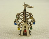Vintage Large Painted Mechanical Sterling Farris Wheel Charm