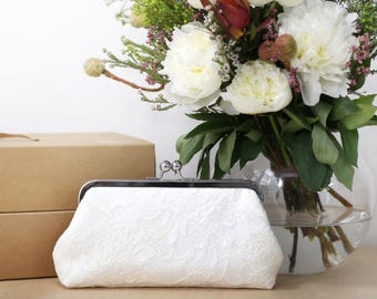 Peony Paisley Lace Bridal Clutch in ivory 8-inches | Bridesmaid Clutch