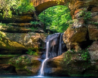 Hocking Hills Ohio Waterfall Landscape Photograph on Metallic Paper or Canvas