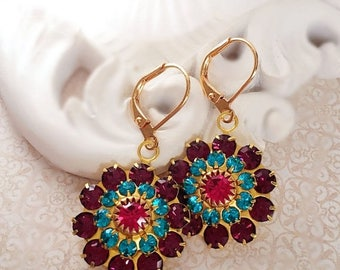 SALE 20% Off Colorful Flower Earrings - Purple - Spring Jewelry - BLOOM
