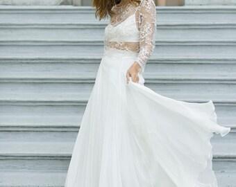 Flowy Silk Bridal Skirt | Dreamy Ivory Wedding Skirt | Whimsical Chiffon Wedding Separate [Aesa Skirt]