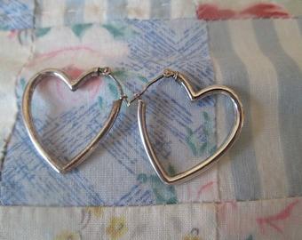 EARRINGS - HEARTS - Estate Sale  - 925 - Pierced  - Sterling Silver earrings 484