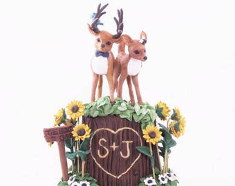 A Doe and A Deer Couple Wedding Cake Topper Keepsake -  ANY Animals of your choice!