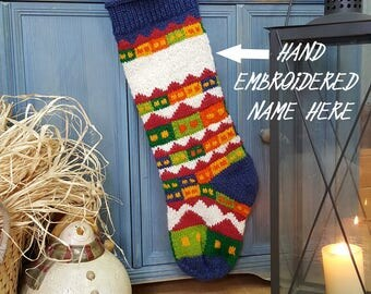 Personalized Xmas Stocking with Hand Embroidered Name, Customized Knitted Christmas Stockings, Christmas Stocking White Green Blue Stockings