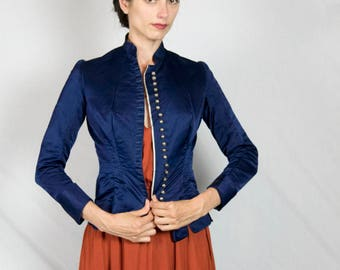 Victorian Blue Silk Jacket with Metal Filigree Buttons