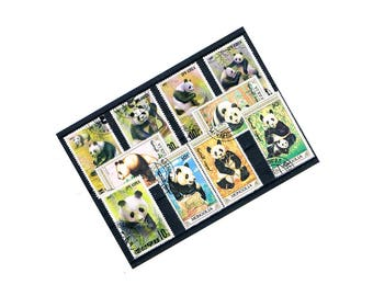 Panda Bear Postage Stamps | wild panda family, cubs, bamboo - vintage stamps | postal ephemera for decoupage, papercraft, collage, upcycle
