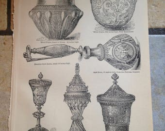 1890 Silver and Gold Plate Antique Illustrations