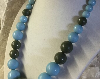 Totally Odd Colour Combo Powder Blue Moss Green Lucite Bead Necklace Unsigned Single Strand Abstract Unique Unusual Graduated Bead Sizes