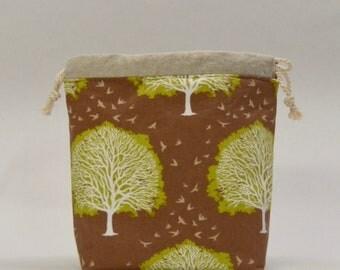 Majestic Oak Small Drawstring Knitting Project Craft Bag - READY TO SHIP