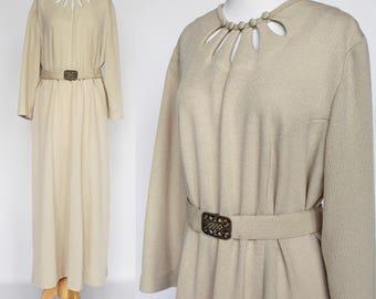 70's  Ribbed Knit Sheath /  Long Sleeve Dress / Beige Belted Shift / Mynette / XXLarge