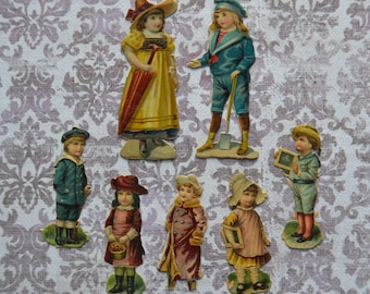 Antique Victorian Embossed Children Scraps Lot of 7