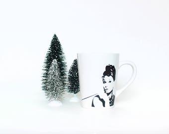 Audrey Hepburn Mug - Breakfast at Tiffany's Coffee Mug - 14oz Ceramic Mug - Black and White - Coffee Cup - Gifts for Her