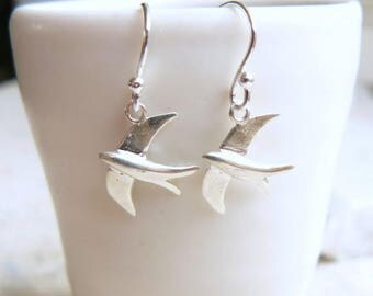 Swallow Earrings, Sterling Silver, Free UK Shipping
