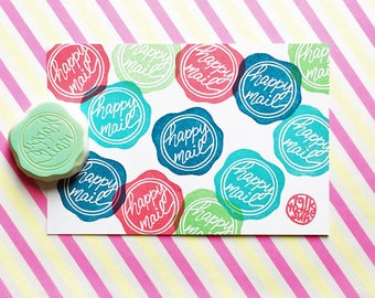 happy mail stamp. seal wax hand carved rubber stamp. packaging stamp for smail mails. gift wrapping. making stickers gift tags cards