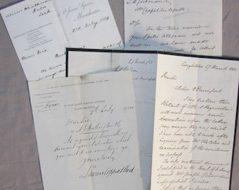 antique letters - 19th century lawyers papers - lot of 4 letters for mixed media projects