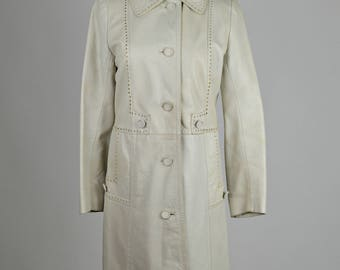 Leather Coat, Taupe Coat, Grey Coat, Womens Vintage Coats, Leda Spain, Fitted Coat, Single Breasted, Long Sleeves, 1970s Coat, Gray Coat