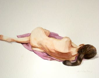 female nude woman reclining  watercolor lady with long hair  figure art