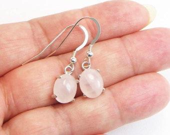Rose Quartz Earrings - 10MM x 8MM - Dangle Earrings - Cabochon Earrings - Sterling Silver - Genuine Gemstone - Gift