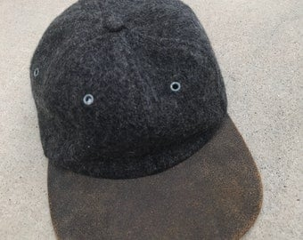 Wool and Leather Suede Brim Vintage Baseball Cap