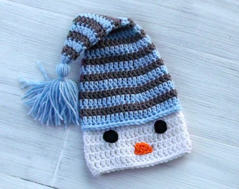Crochet Baby Snowman Hat, Christmas Baby Hat, Baby Elf Hat, Warm Winter Baby Hat, Crochet Stocking Hat, Blue and Gray