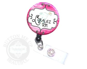 """1 1/2"""" Design Badge Reel - Personalized Baby Elephant Nurse Retractable Lanyard ID Holder in 4 Color Choices (A385)"""