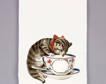 tea towel - dish towels - flour sack towel - kitchen decor - tea cups - kitchen towels -gifts for mom -cat lover gift -cat gift -TEA CUP CAT