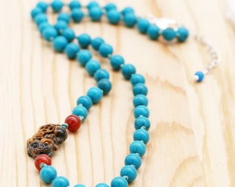 Protection and abundance men's necklace - turquoise, carnelian, and tiger eye Pi Xiu