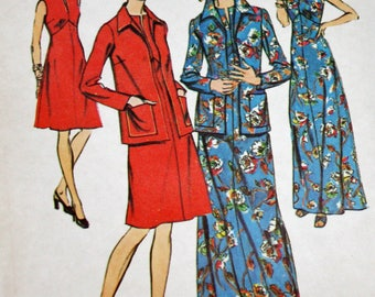 """Vintage 1970s Sewing Pattern, Simplicity 6559, Misses' Dress in Two Lengths and Jacket, Misses' Size 12, Bust 34""""."""