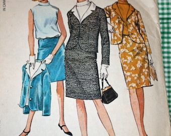 """Vintage 1960s Sewing Pattern, McCall's 7975, Misses' Suit and Blouson, Misses' Size 14, Bust 34"""", Misses' Suit and Blouse"""