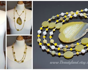 Extra Long necklace with pendant  Mother's Day Gift yellow boho adjustable long necklace for women gift for wife gemstone necklace gift idea