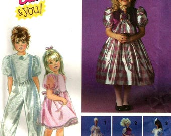 Vintage Simplicity 8633 UNCUT Barbie for Girls and Doll Party Pants Jumpsuit, Fancy Dress Sewing Pattern