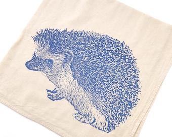 Hedgehog, Hedgie Towel - Hand Printed Flour Sack Kitchen Towel (Unbleached Cotton)