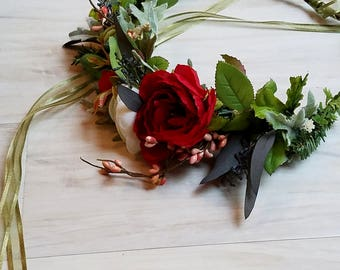 flower crown red photo prop Valentine winter evergreen Bridal Hair Wreath greenery Holiday headband Weddings party halo