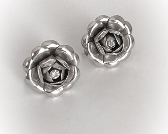 Vintage Silver Tone Metal Roses Earrings with Rhinestone Center Screw Backs