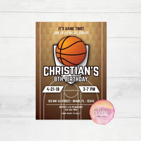 Basketball Birthday Invitation Basketball Invite Sports