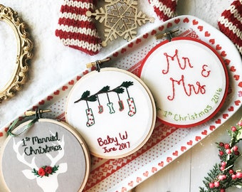 Newlywed Christmas Ornament, 2017 wedding ornament, Personalized Embroidery Ornament First Married Christmas, Red embroidery ornament kimart