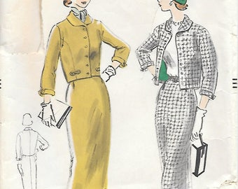 Vogue 3513 1950s Fitted Skirt with Short Lined Jacket Vintage Sewing Pattern Bust 33 Misses Suit