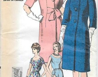 Vogue 5461 1960s Scoop Neck Dress and Coat Vintage Sewing Pattern Size 14 Bust 34 Special Design Redingote