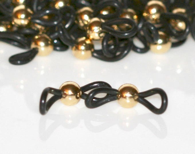 Beaded Eyeglass Loops In Bright Gold. Last Lot of 15 Pairs Available. Jewelry Supply. Beading Supply