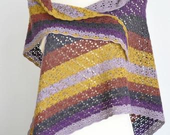 Lace Layer - Purple - Crochet Multicolor Triangle Shawl