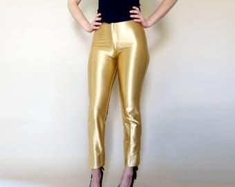 70s gold FREDERICKS high waist spandex DISCO pants S