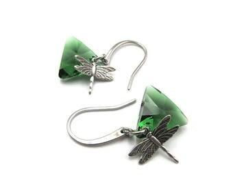 NEW Silver Dragonfly Triangular Swarovski Crystal Element Earrings (ERSS102)