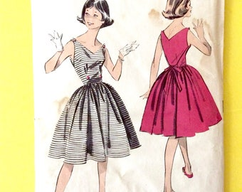 1950s SunDress Pattern Fitted Bodice Full Skirt Advance 9068; ca. 1959; Teen One-Piece Dress Vintage Sewing Pattern  Bust 34