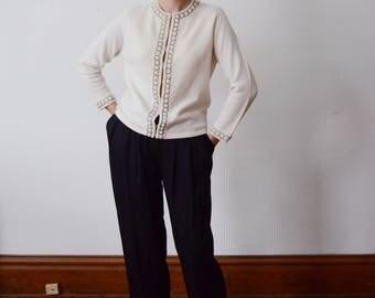 1960s Cream Beaded Cardigan - S/M