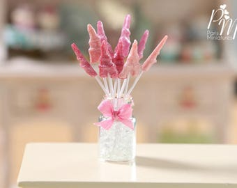 Eiffel Tower Lollipops with Glass Display Jar - Shades of Pink - 12th scale-