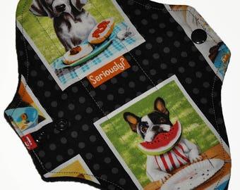 Light Core- Puppy Portraits Reusable Cloth Pantyliner Pad- WindPro Fleece- 8.5 Inches