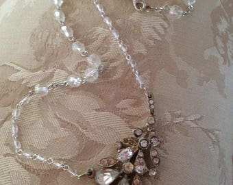 Snow kissed floral Angelic crystal and Rhinestone Magical Necklace
