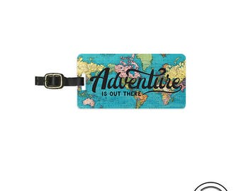 Luggage Tag Adventure is out there Vintage Map Metal Luggage Tag  With Printed Custom Info On Back Single Tag
