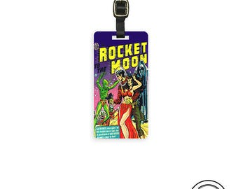 Luggage Tag Comic Rocket To the Moon Vintage  Book Sci Fi Alien Luggage Tag - Printed Personalized Backs  Single Tag