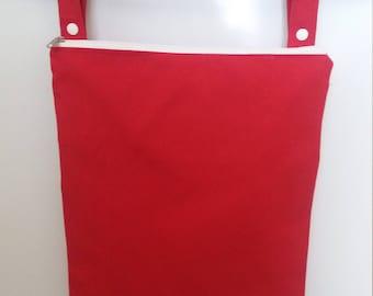 Red wet bag, cloth diaper wet bag, Kitchen wet bag, swimsuit bag, hanging wet bag, wet bathing suit bag, cloth diaper bag